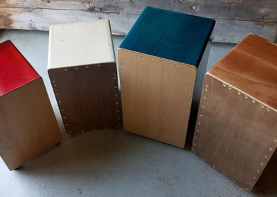 Custom stained and clear varnished natural wood Cajons